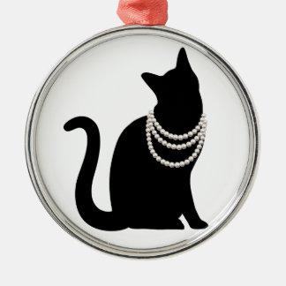 黒猫と宝石 セラミックオーナメント メタルオーナメント