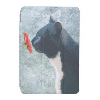 黒猫のくんくんかぐ花 iPad MINIカバー