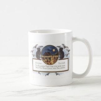 黒猫のこうもりの農場のカボチャ三角波の満月 コーヒーマグカップ