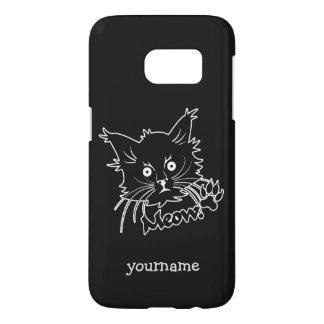 黒猫のカスタムなモノグラムの電話箱 SAMSUNG GALAXY S7 ケース