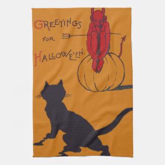 黒猫のカボチャ悪魔の鬼の干し草用フォーク キッチンタオル