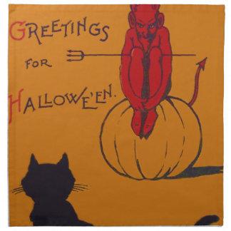 黒猫のカボチャ悪魔の鬼の干し草用フォーク ナプキンクロス