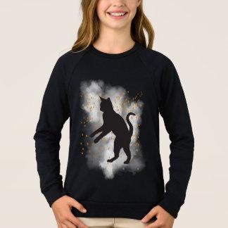 黒猫のカボチャ紙吹雪のTシャツ スウェットシャツ