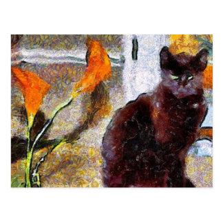 黒猫のゴッホの郵便はがき ポストカード