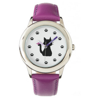 黒猫のシルエットのピンクの蝶 腕時計