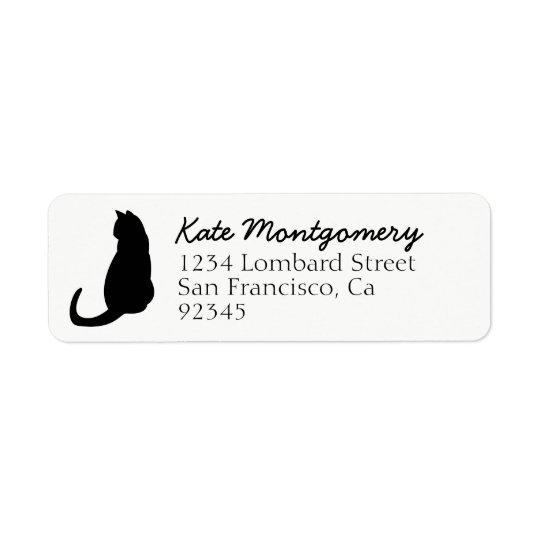 黒猫のシルエットの白の差出人住所ラベル 返信用宛名ラベル