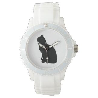 黒猫のシルエットの腕時計 腕時計