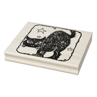 黒猫のシルエットの芸術のスタンプ ラバースタンプ