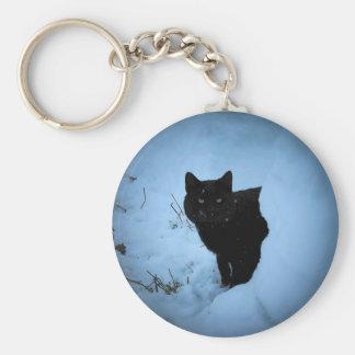 黒猫のスポットライト キーホルダー