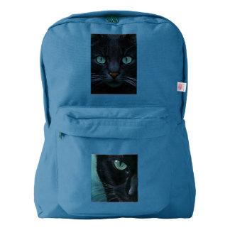 黒猫のティール(緑がかった色)はアメリカの服装のバックパックで注目します AMERICAN APPAREL™バックパック