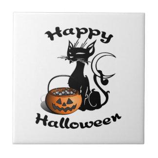 黒猫のハッピーハローウィン タイル