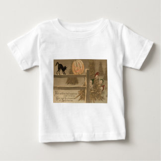 黒猫のハロウィーンのカボチャのちょうちんのカボチャ三角波 ベビーTシャツ