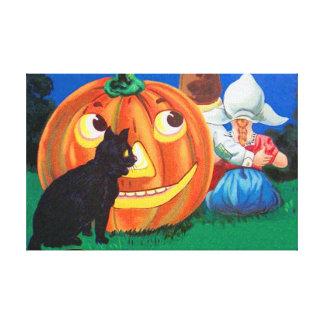 黒猫のハロウィーンのカボチャのちょうちんのカボチャ子供 キャンバスプリント