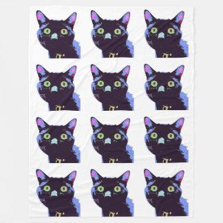 黒猫のフリースブランケット フリースブランケット