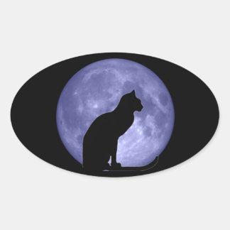黒猫のブルームーンの楕円形のステッカー 卵形シールステッカー