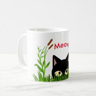 黒猫のマグが付いているかわいい蝶庭 コーヒーマグカップ