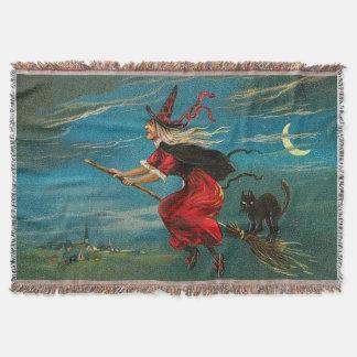黒猫の三日月の月を飛ばしている魔法使い スローブランケット