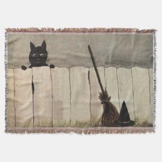 黒猫の塀の天狗巣の帽子 スローブランケット