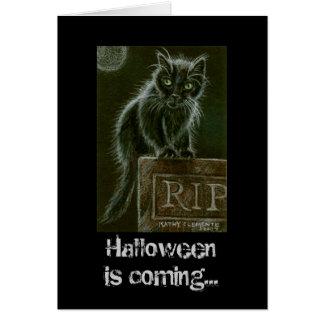 黒猫の墓石の裂け目ハロウィンは…来ています カード
