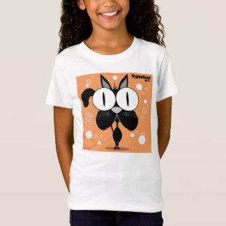 黒猫の女の子のBellaによって合われるベビードールのTシャツ Tシャツ