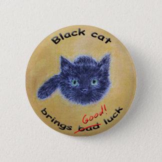 黒猫の幸運 5.7CM 丸型バッジ
