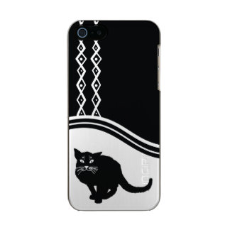 黒猫の携帯電話の箱 メタリックiPhone SE/5/5sケース
