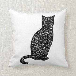 黒猫の枕黒猫のシルエットの装飾用クッション クッション