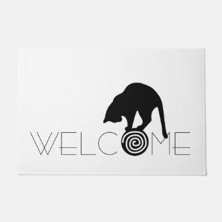 黒猫の歓迎の玄関マット ドアマット