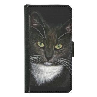 黒猫の白いよだれかけの緑の瞳 GALAXY S5 ウォレットケース