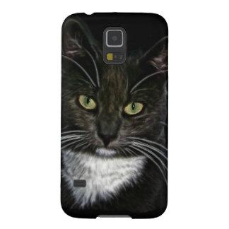 黒猫の白いよだれかけの緑の瞳 GALAXY S5 ケース