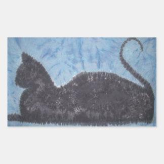 黒猫の絞り染めPhatDyes 長方形シール