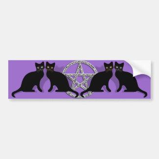 黒猫の親友セットとのWiccaの魔法の五芒星 バンパーステッカー