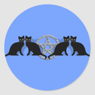 黒猫の親友セットとのWiccaの魔法の五芒星 ラウンドシール