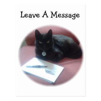 黒猫の許可メッセージ ポストカード