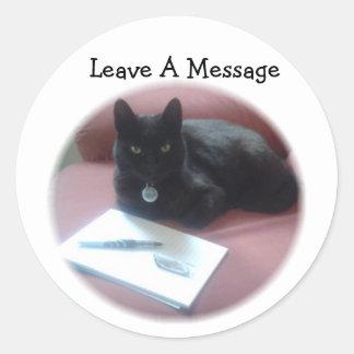 黒猫の許可メッセージ ラウンドシール