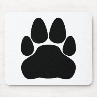黒猫の足のプリントの形 マウスパッド