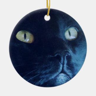 黒猫の顔のオーナメント セラミックオーナメント