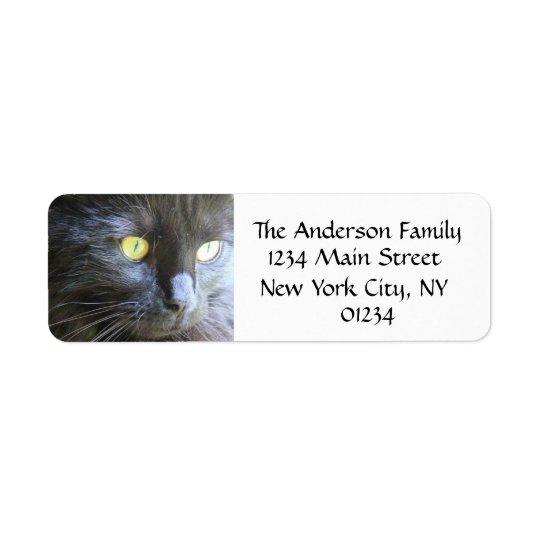 黒猫の顔、差出人住所ラベル ラベル