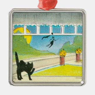 黒猫の魔法使いの窓のハロウィーンのカボチャのちょうちんのカボチャ月 メタルオーナメント