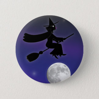 黒猫の魔法使いボタン 5.7CM 丸型バッジ