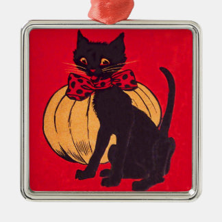 黒猫のBowtieのカボチャヴィンテージ メタルオーナメント
