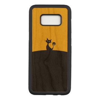 黒猫のSamsungの銀河系S8はさくらんぼ木箱を細くします Carved Samsung Galaxy S8 ケース