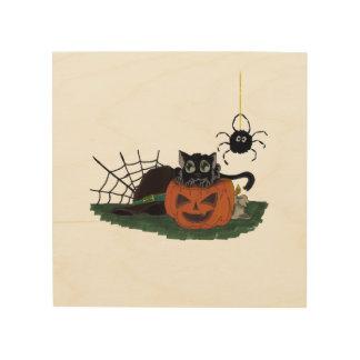 黒猫はくもとのハロウィーンのカボチャのちょうちんで置かれます ウッドウォールアート