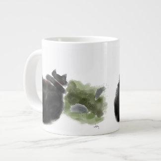 黒猫は飛石を見ます ジャンボコーヒーマグカップ