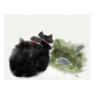 黒猫は飛石を見ます ポストカード