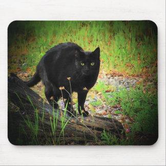 黒猫をアーチ形にする緑の黒 マウスパッド