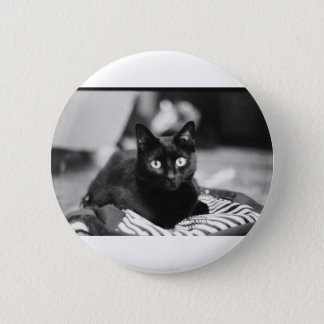 黒猫ボタン 5.7CM 丸型バッジ