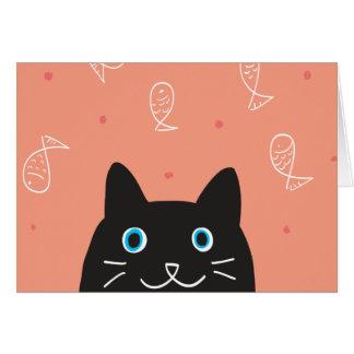 黒猫及び魚カード カード