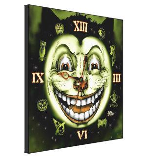 黒猫13の時計ハロウィン キャンバスプリント