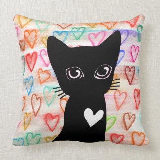 黒猫-あなたのためのハート--を枕愛すれば クッション